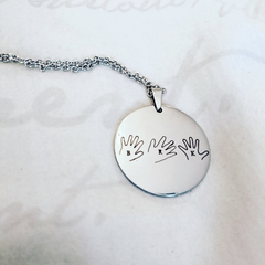 Hand Outline, Drawing or Writing on Pendant Necklace