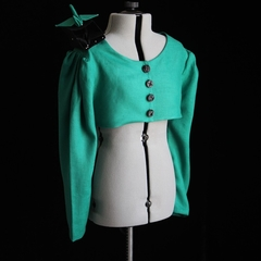 Boxed Birdies Green Linen Jacket Tailor-Made