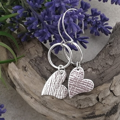 HOOP EARRINGS with HEART Charm. Upcycled from Vintage spoon.