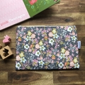 Nappy Wallet - Clutch -Makeup - Grey Flowers - Baby Girl