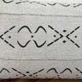 Pale grey mud cloth cushion cover with black tribal design 60cm x 35cm