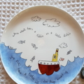 Handpainted bone china plate with boat, fish and saying