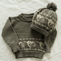 Child's jumper and hat set with kangaroo fairisle band.