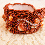 Beaded Bracelet Cuff in Copper & Bronze