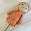 Doll in orange - crocheted softie toy