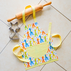 Kids/Toddlers Apron giraffes - lined kitchen/craft/play apron