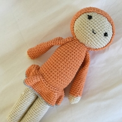 Doll in orange - crocheted softie toy