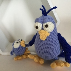 Mother & Baby Bird- crocheted softie