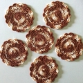 Six Hand Crocheted Coasters in Brown Blend Cotton