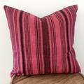 Hmong hemp dark red and black stripe cushion cover 50cm x 50cm