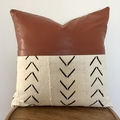 African mud cloth and faux leather cushion 50cm x 50cm