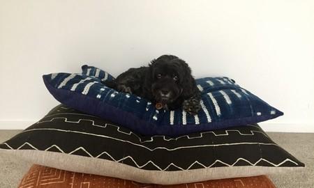 Medium dog bed/large floor cushion cover in vintage African indigo  fabric