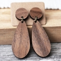 Sustainable Wood Teardrop Statement Earrings | Surgical Steel | Free Shipping