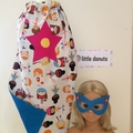 ~ Girl's Personalised Basic Superhero Set ~ MADE TO ORDER ~ Cape & Mask ~