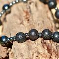 Mens Rosary Bracelet, Volcanic Lava and Black Hematite Men's Bracelet.
