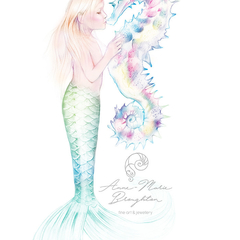 8x10 PRINT Little Girl Mermaid Kissing Seahorse Colour Art Pencil Drawing