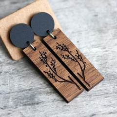 Sustainable Wood Statement Earrings | Branch Design | Bar Drop Dangles