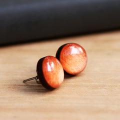 Hand Painted Resin Bamboo Stud Earrings | Metallic Amber Orange | Free Shipping