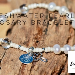 One Decade Rosary Bracelet, Freshwater Pearls Bracelet.