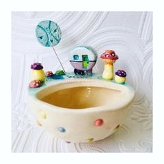 Mini Ceramic Planter with Retro Caravan, Toadstools and Pond