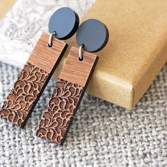 Sustainable Wood Statement Earrings | Lace Design | Bar Drop Dangles