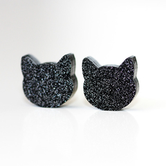 12mm Black Cat Stud Earrings | Sparkling Glitter Studs | Cat Jewellery