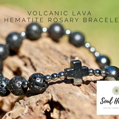 Mens Rosary Bracelet, Volcanic Lava and Black Hematite Men's Bracelet.
