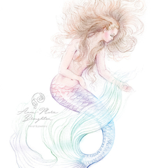 8x10 PRINT Washed Ashore Mermaid Colour Art Pencil Drawing