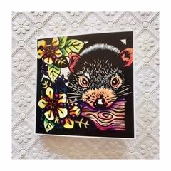 Tasmanian Devil Blank Greeting Card Featuring an Original Hand-Coloured Lino Pri