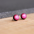 Hand Painted Resin Bamboo Stud Earrings | Metallic Pink | Free Shipping