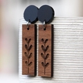 Sustainable Wood Statement Earrings | New Growth Design | Bar Drop Dangles