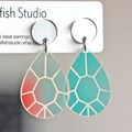 Iridescent Colour Changing Teardrop Statement Earrings | Surgical Steel