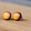 Hand Painted Resin Bamboo Stud Earrings | Metallic Gold | Free Shipping