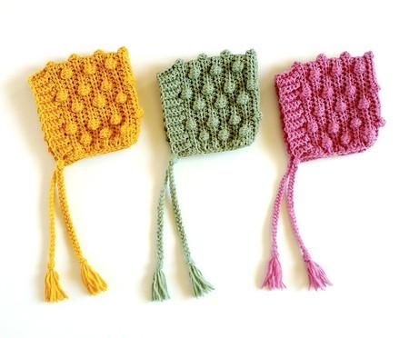 Mustard, Dusty Rose or Sage Crochet Newborn Bobble Baby Pixie Bonnet Beanie Hat