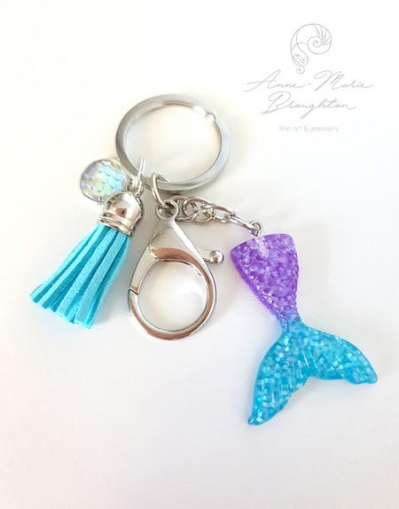 Mermaid Tail Keyring in Blue & Purple