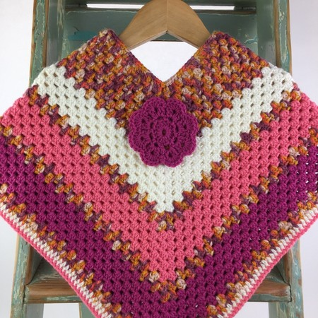 Pure Wool Crochet Poncho | 3 - 4  Years | Girls | Hand Crocheted | Ready to Post