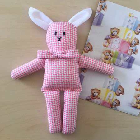 Pink bunny soft toy rattle