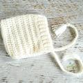 Cream Newborn Crochet Baby Pixie Bonnet Beanie Hat Photo Prop