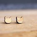 Sustainable Bamboo Cat Stud Earrings | Cat Jewellery