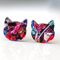 Rainbow Cat Stud Earrings | Sparkling Glitter Studs | Cat Jewellery