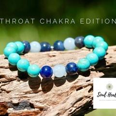 Throat Chakra Gemstone Bracelet, Seven Chakras Edition Bracelet.
