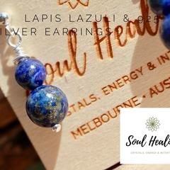 Lapis Lazuli Stones and 925 Sterling Silver Earrings.