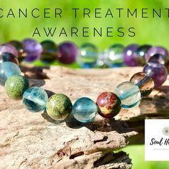 Cancer Treatment Gemstone Bracelet, Crystals For Recovery and Awareness.