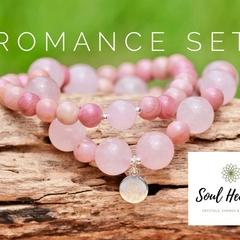 Rose Quartz and Rhodochrosite Gemstone Bracelet Set, Crystals For Romance.