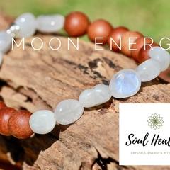 White Moonstone and Aromatic Sandalwood Gemstone Bracelet.