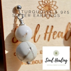 Turquoise Stones and 925 Sterling Silver Earrings.