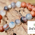 Botswana Agate and Aromatic Sandalwood Gemstone Bracelet.