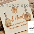 Topaz Stones and 925 Sterling Silver Earrings, Topaz Raw Stones Earrings.