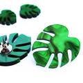 12mm Monstera Fern Leaf Green Stud Earrings | Surgical Steel