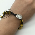 Kumihimo Bead  Bracelet Heart Button Yellow Black